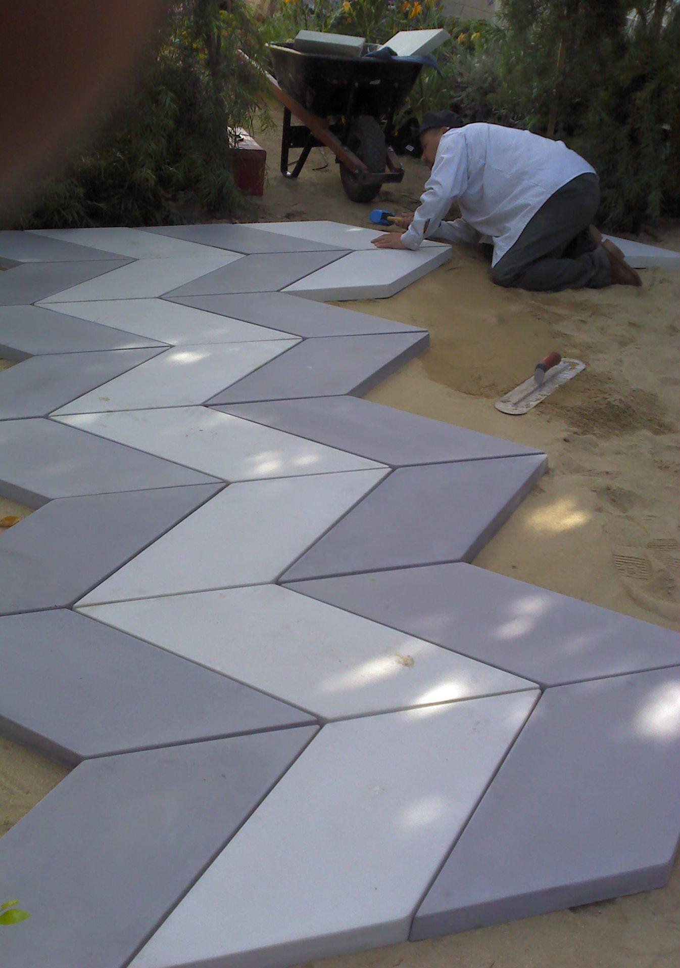 Stone loves chevron paving pattern stone makes concrete for Cement art design
