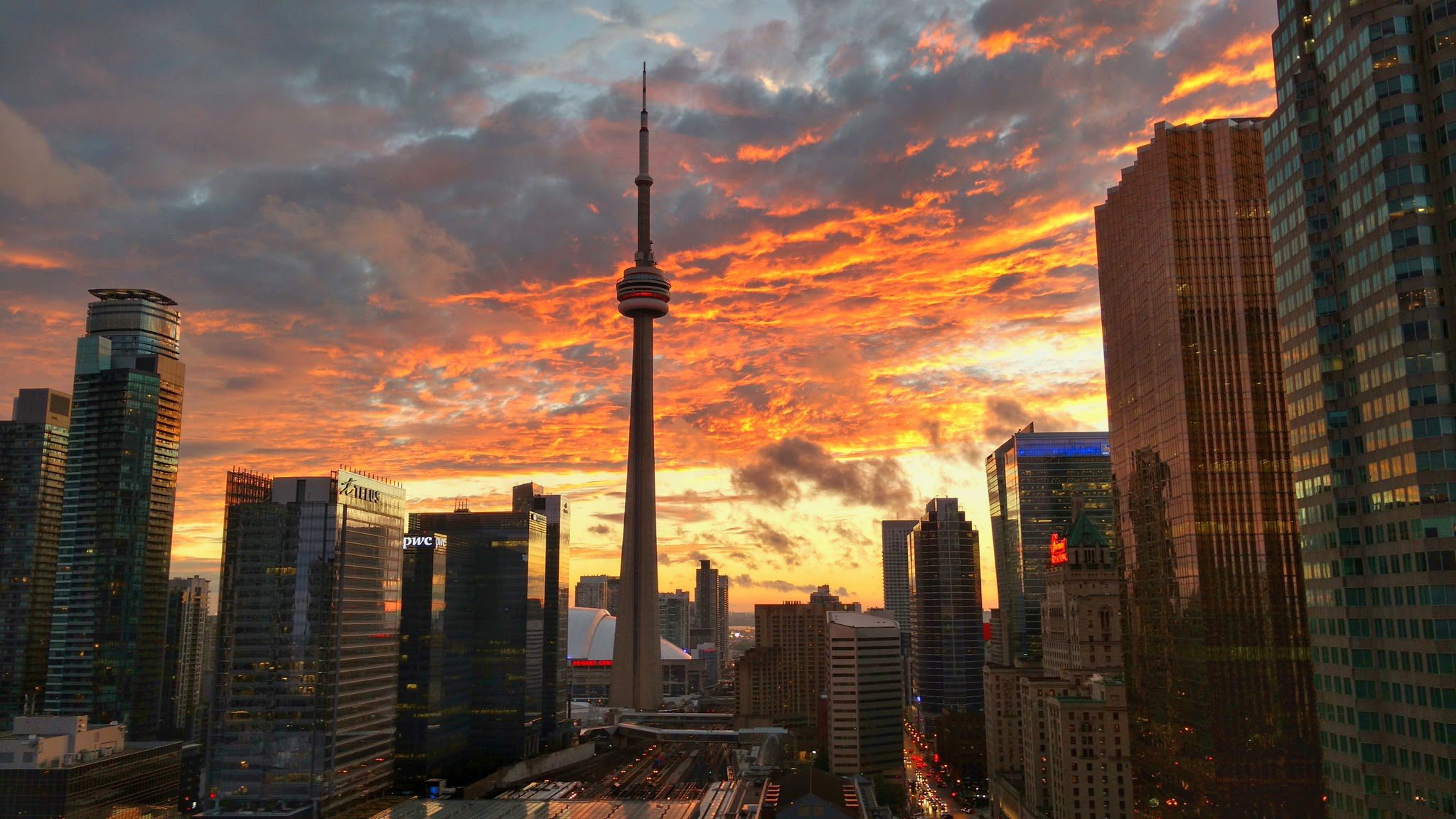 The City Of Toronto Ablaze Oc 2048 X 1152 Wallpaper Background For Ipad Mini Air 2 Wallpaper Backgrounds Aesthetic Desktop Wallpaper Wallpaper Toronto