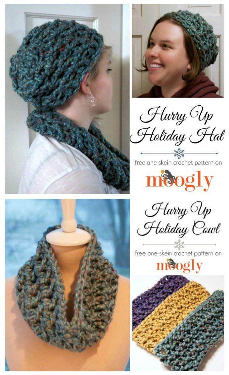 Great gift sets - free #crochet patterns on Moogly!   Hats for ...