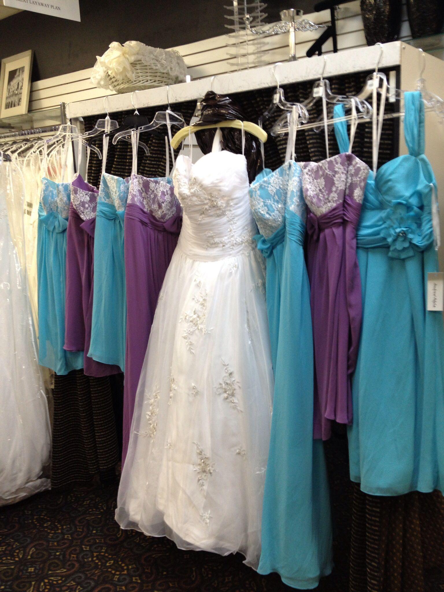 Wedding dress bridesmaids turquoisepurple wedding pinterest