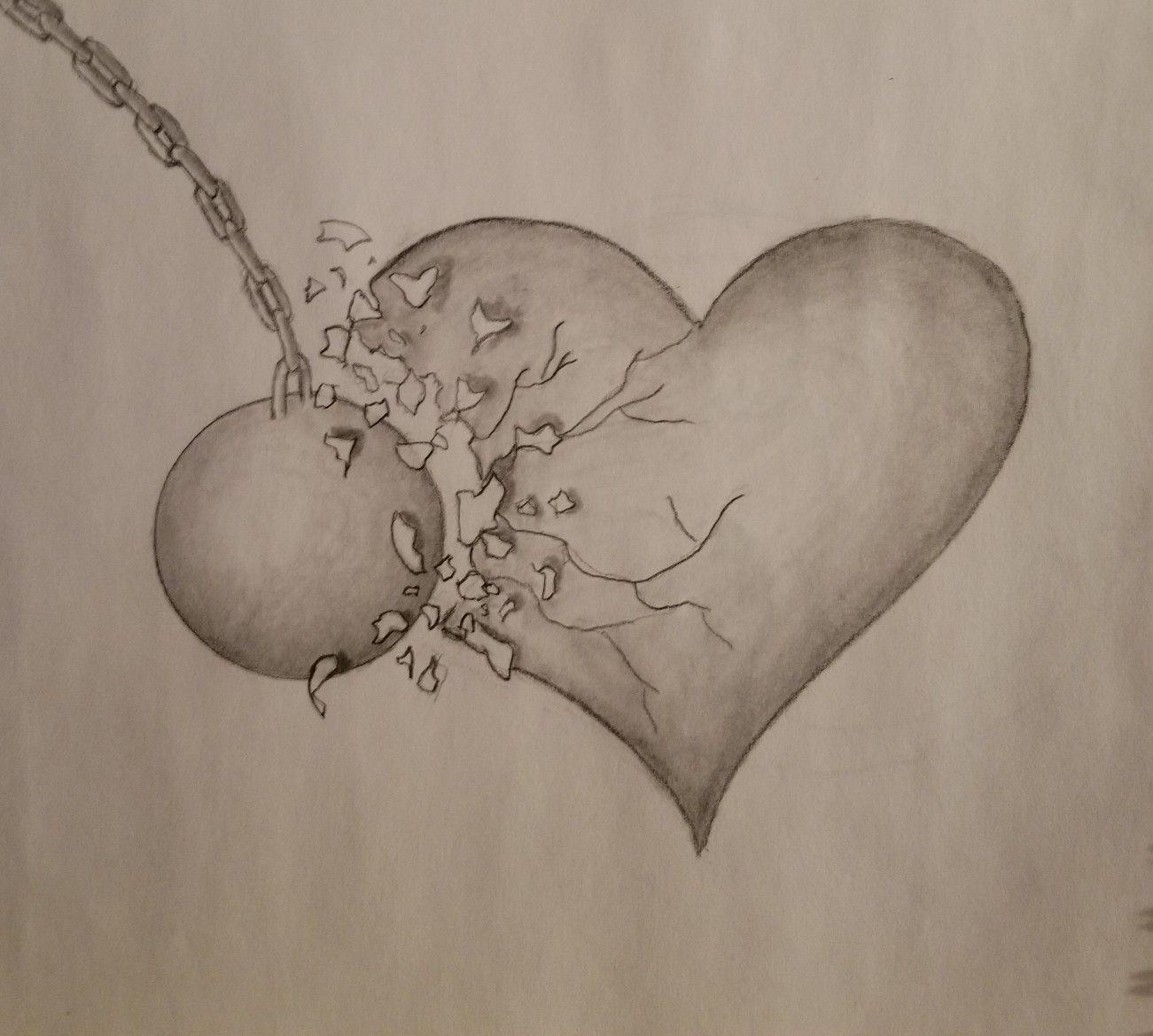 Broken heart graphite drawing shattered sad wrecking ball art