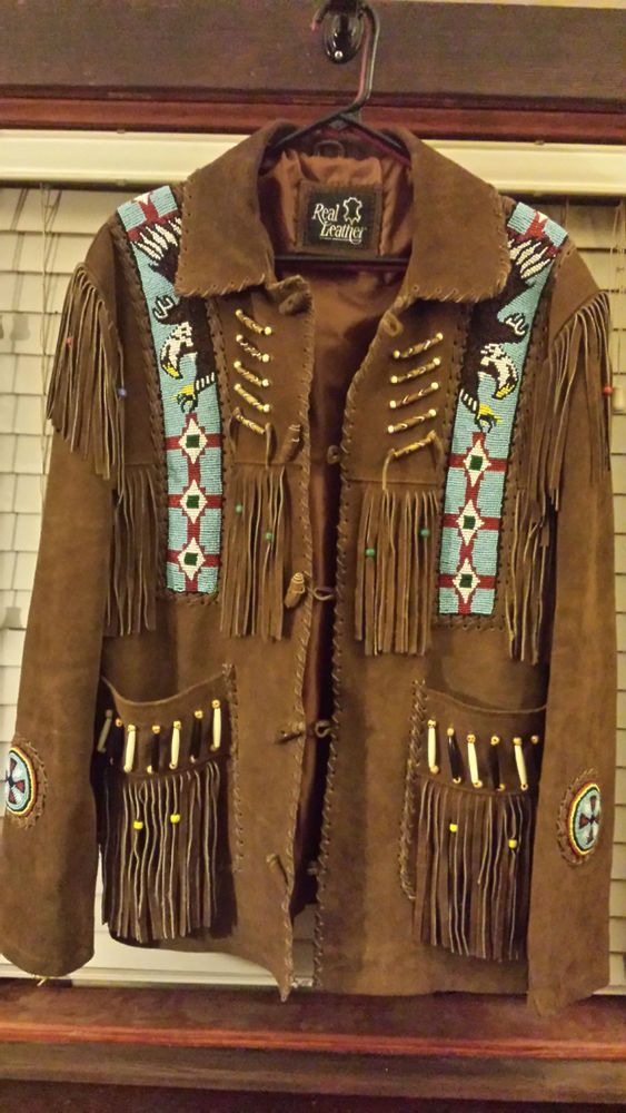 LEATHERAY Mens Fashion Western Cowboy Fringe /& Beaded Jacket Cow Leather Ivory