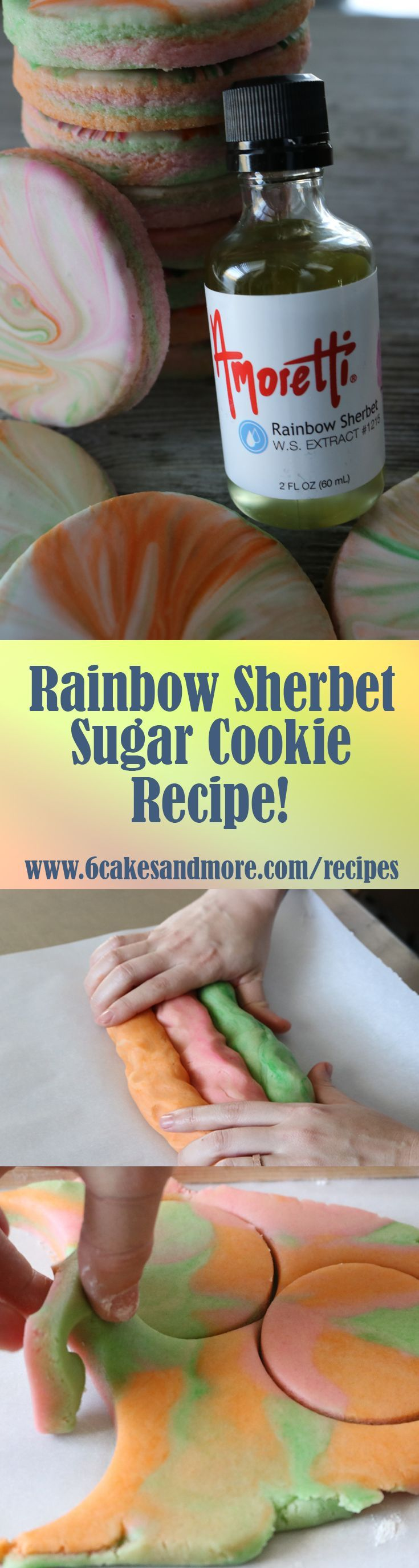 Rainbow Sherbet Sugar Cookie Recipe using Amoretti Rainbow Sherbet Extract!  These cookies are amazing and delicious!  We also marbled our royal icing!  Hope you all enjoy this recipe and let me know how they turn out!  God Bless! #nochillnospread #cutoutcookies #sugarcookies #sugarcookierecipe #nospreadsugarcookies #nochillsugarcookies #6cakesandmore #everythingcakeandcookies #amoretti #rainbowdust