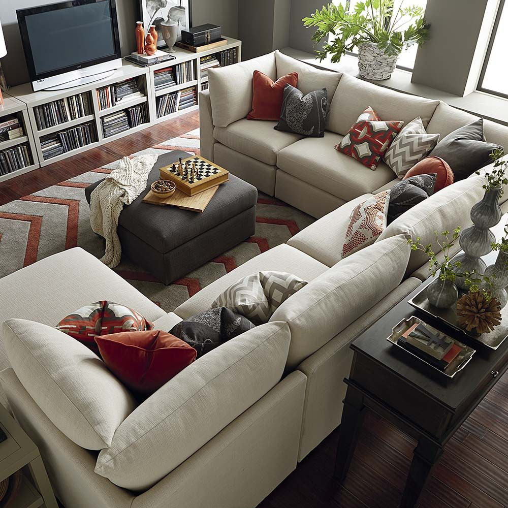 Couches For Living Room With Ottoman Custom Upholstered U Shaped Sectional
