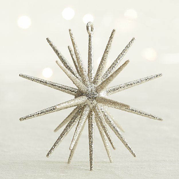 Silver Glitter 3d Star Ornament Crate And Barrel Star Ornament
