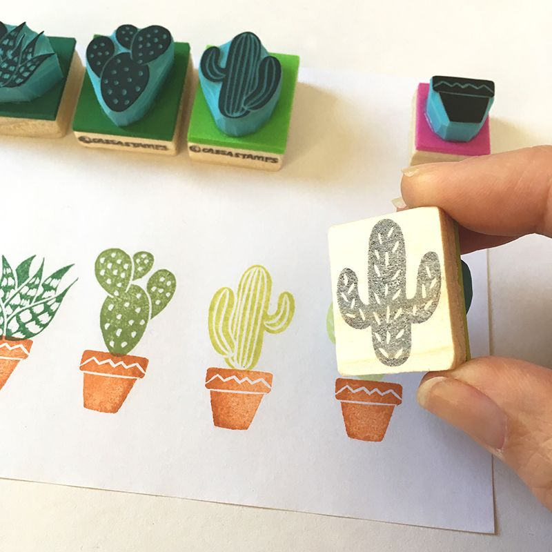Hand Carved Cactus Rubber Stamps New Bigger Set By CassaStamps