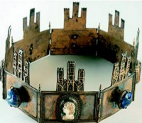 Crown of Castille and Leon.    Worn by Sancho IV the Brave (12 May 1258 – 25 April 1295) was the King of Castile, León and Galicia from 1284 to his death. He was the second son of Alfonso X and Yolanda, daughter of James I of Aragon.