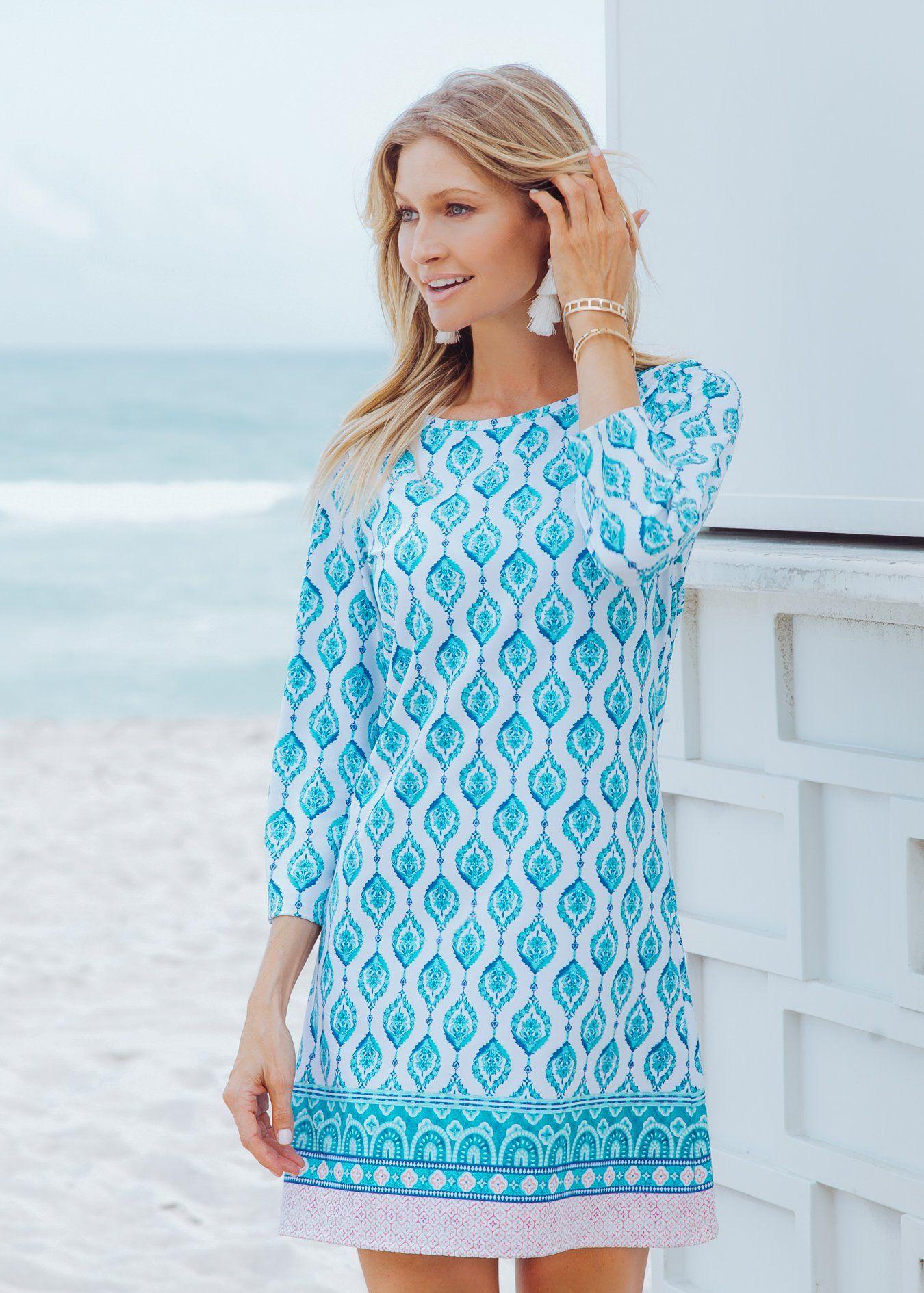 Santorini Cabana Shift Dress Cabana Life S New Vibrant Print Santorini Summer With 50 Uv Protection As Always Shift Dress Dresses Summer Shift Dress [ 1890 x 1350 Pixel ]