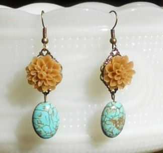 WANT!!!!!!!!     Brown Flower with Turquoise Earrings by AdornmentsbyWendi on Etsy, $12.00
