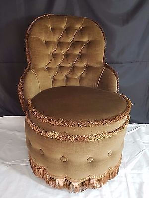Retro Vintage Gold/Brown Sherborne Bedroom Round Boudoir Tub Chair