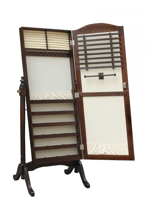 Monroe Curved Cheval Mirror Hidden Jewelry Armoire 269