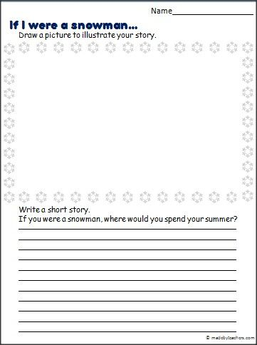 This is a snowman story writing prompt and winter stationary - college ruled paper template