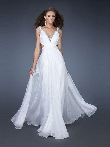 A-line Chiffon V-Neck Empire Floor-Length Criss Cross Back Sleeveless Beading Cut Out Prom Dress - Dress2015.com