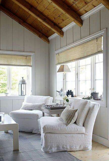 Ceiling Beams To Rustic Colors Too Stark But Could Warmer Furniture Warm It Up White Tongue And Groove Walls And Rustic Beamed C Home Cottage Living House