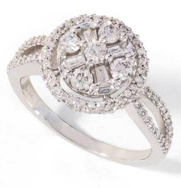 White Gold Round/Baguette Diamond Circle Ring