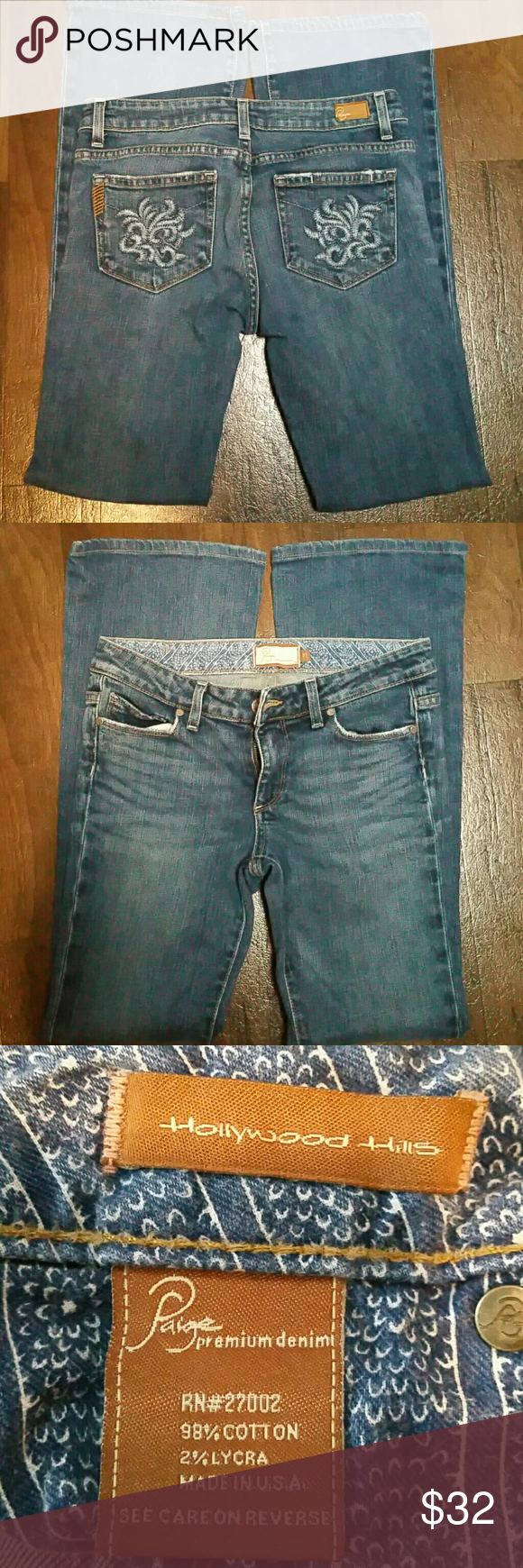 "PAIGE FLARE JEANS Excellent pre-owned condition  98% Cotton / 2% lycra 27X31 / 8"" rise  SMOKE /PET FREE HOME Paige Jeans Jeans Flare & Wide Leg"