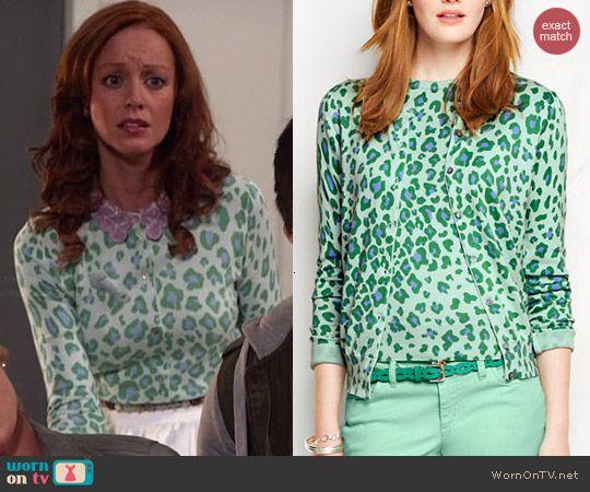 86824d1d9b Cassandra s green leopard print cardigan on The Librarians. Outfit Details   http