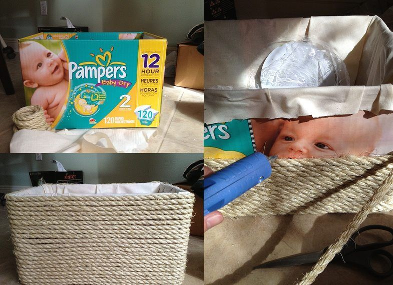 an empty diaperbox makes a stylish basket. Only need a cotton lap and rope