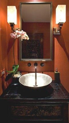 powder room | bathroom decor, orange bathrooms, powder