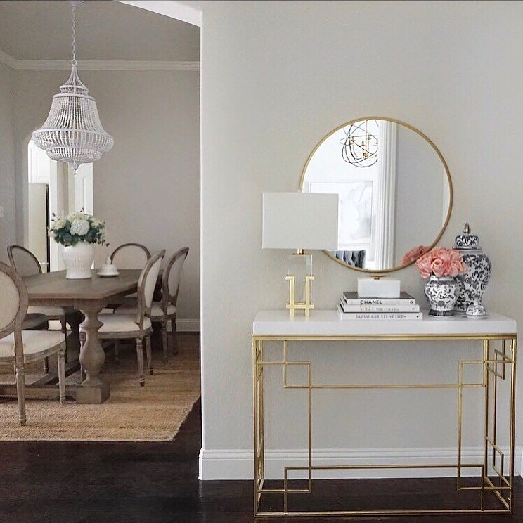 Entryway Decor Entry Styling Gold And White Ginger Jars Console Table Restoration Hardware Dining Table Louis Dining Entry Table Decor Entryway Decor Decor