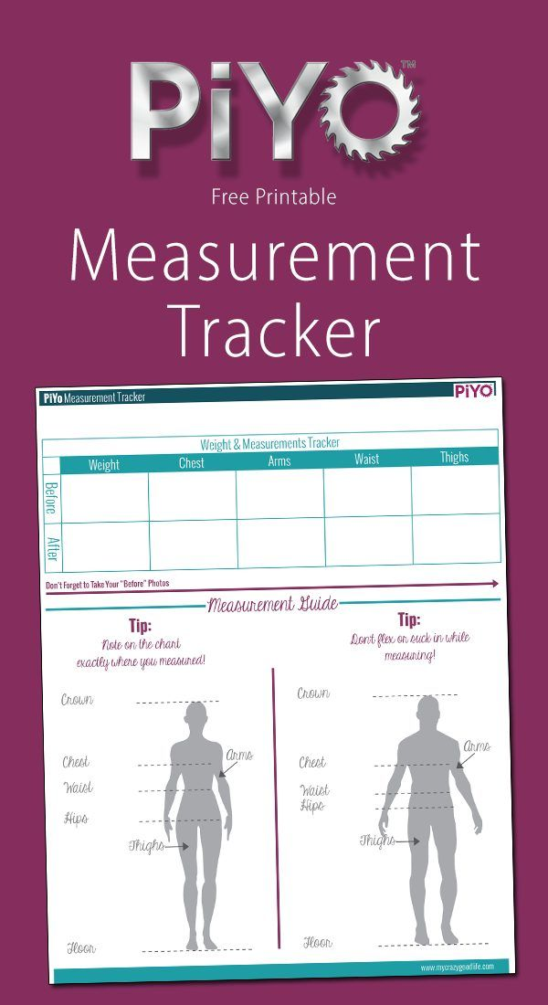 This free PiYo Measurement Tracker will help you compare your before