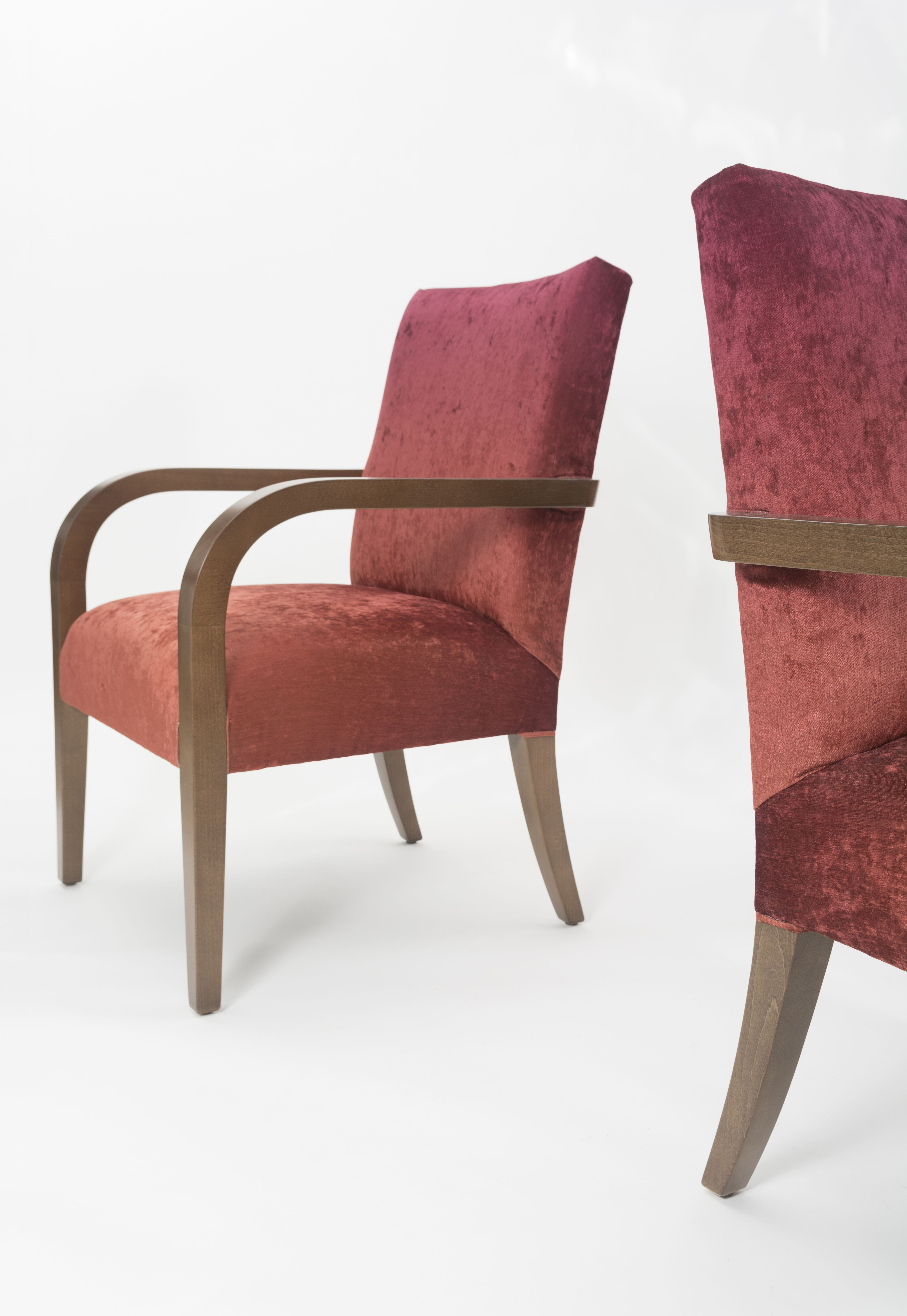Delightful Custom Restaurant Armchairs With Fully Upholstered Seats And Backs And  Exposed, Continuous, Wood Arms