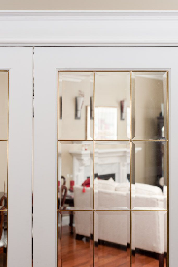 Distinctive interiors beveled glass french door with for Glass french doors