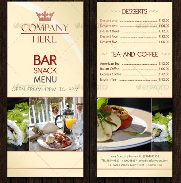 Bar Menu Design Templates | Hi! Here is a simple Restaurant/Bar menu ...