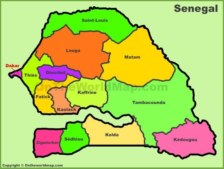 Administrative divisions map of Senegal Maps Pinterest Division