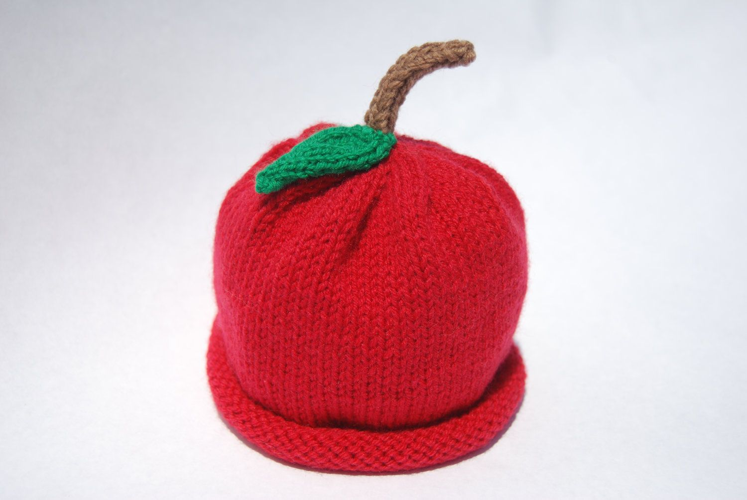 Apple Hat Red Knit with Rolled Brim and by ...