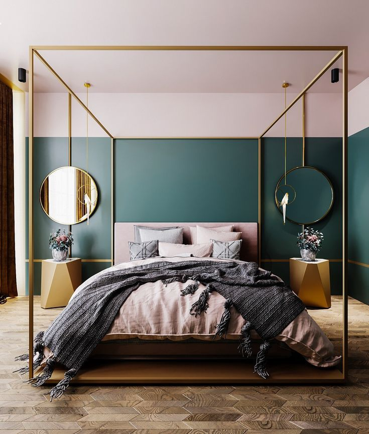This Gorgeous Gold Four Poster Bed Is Undeniably The Centre Piece Of This Bedroom Gold Accessorie Bedroom Trends Minimalist Bedroom Design Luxurious Bedrooms