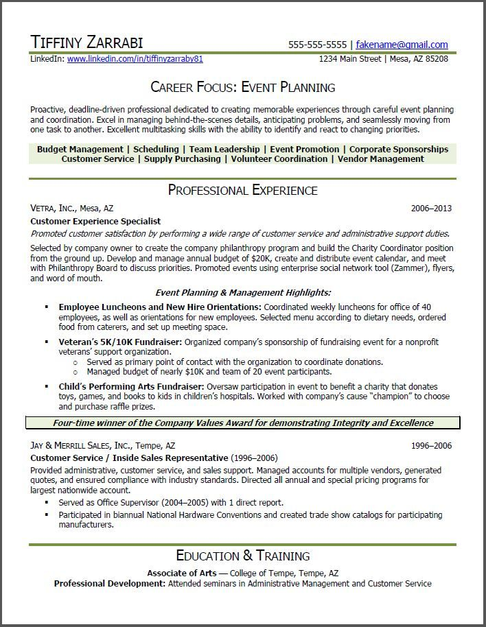 Event Planner Resume | Event Planner Resume: Career Transition  Event Planning Resume