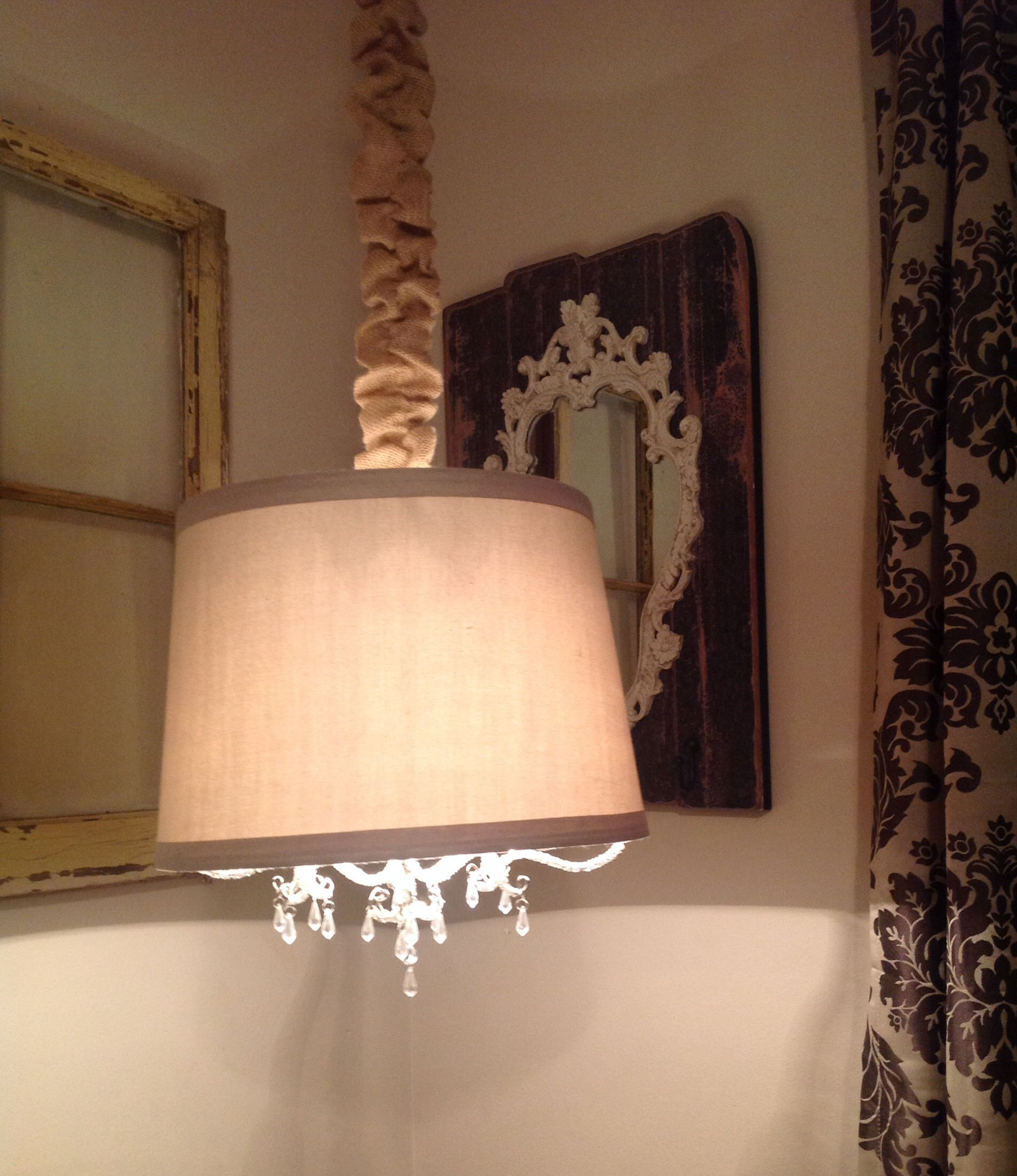 I Made This Drum Shade Chandelier Out Of A Table Lamp Shade