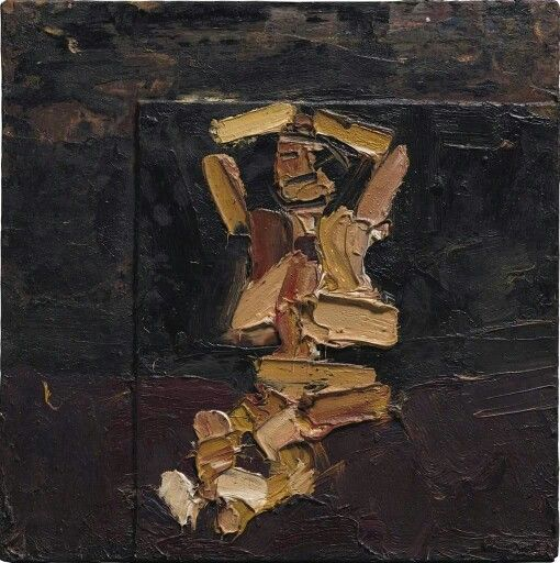 Frank Auerbach (British, b. 1931), Seated Figure with Arms Raised, 1973. Oil on board, 41.2 x 41.2 cm.