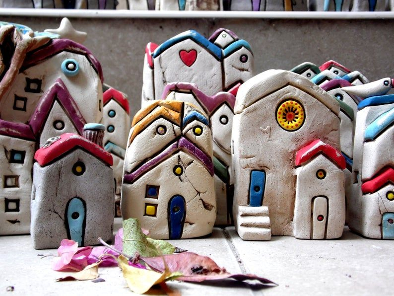 Little House Home Sweet Home Sculpture Grey House Hand Etsy In 2021 Clay Houses Pottery Houses Clay