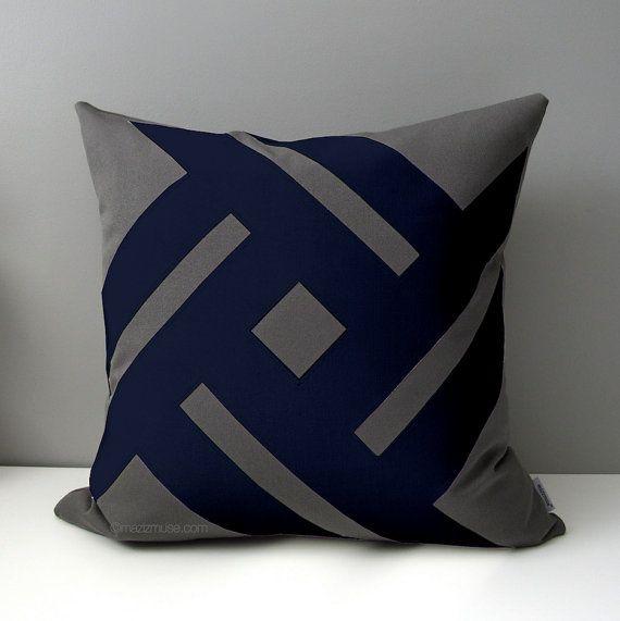 Grey Navy Blue Outdoor Pillow Cover Decorative Pillow Cover