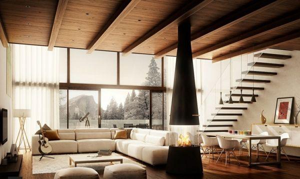 wohnzimmer mit beiger wandgestaltung holzdecke meine ziele pinterest holzdecke. Black Bedroom Furniture Sets. Home Design Ideas