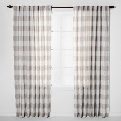 Plaid Light Filtering Curtain Panels Gray Threshold Panel Curtains Living Room Decor Curtains Curtains