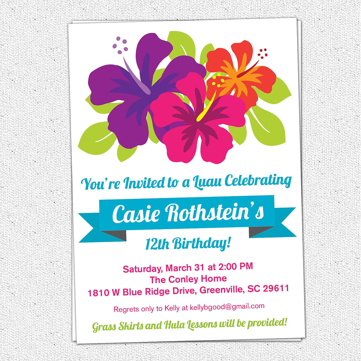 free printable luau birthday invitations templates | elma, Birthday invitations