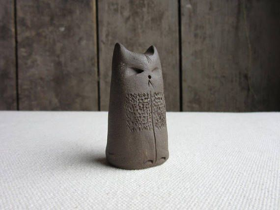 Ceramic Cat FigurineSmall Handmade Pottery Art CatCeramic