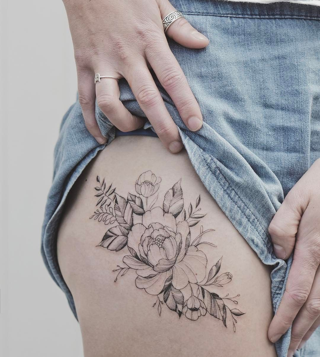 Tattoo Thigh Flower Fineline By Tritoan Ly Flower Thigh Tattoos