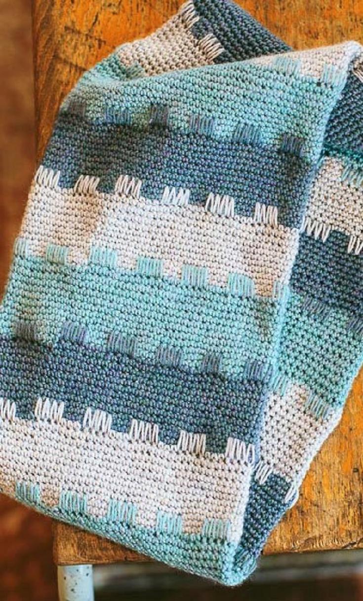 How to work a crochet spike stitch | Manta, Cobija y Colchas