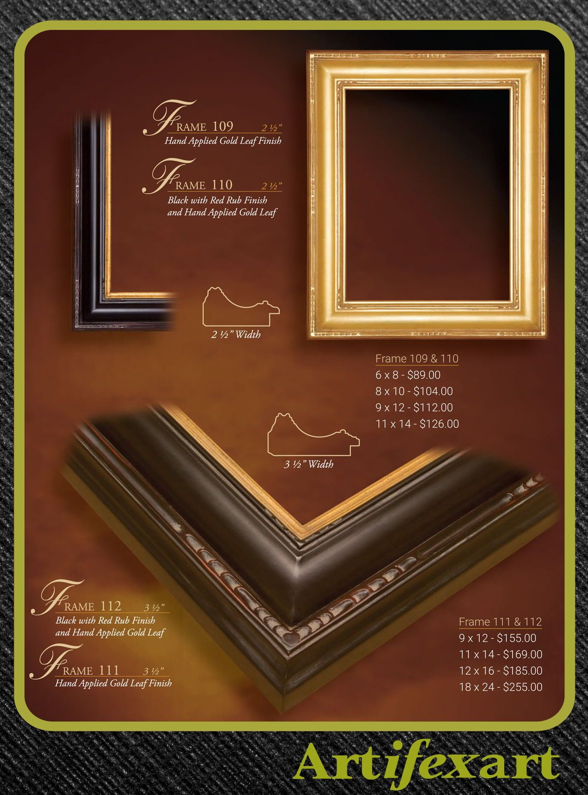 2 1 2 Wide Wood Frame Gold Or Black And Gold Hand Applied Leaf Also Available In 3 1 2 Width Art Deco Plenair Arts A Frame Frame Design Custom Framing