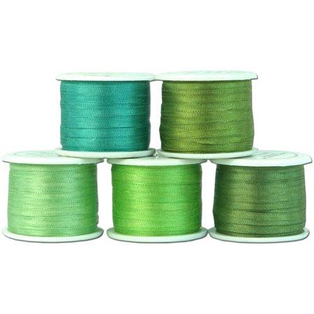 Threadart 2mm Silk Ribbon Set - Green Shades - Five Spool Collection - 100% Pure Silk Ribbon ...