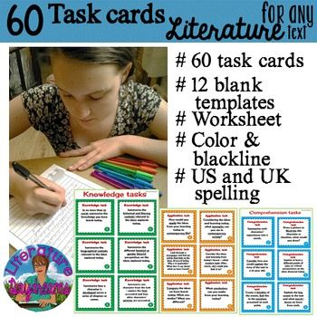 Looking for new approaches to independent study of Literature?  These task cards are just what you need. Print and laminate then use for extension tasks, individual response, homework, collaborative learning, differentiated learning.
