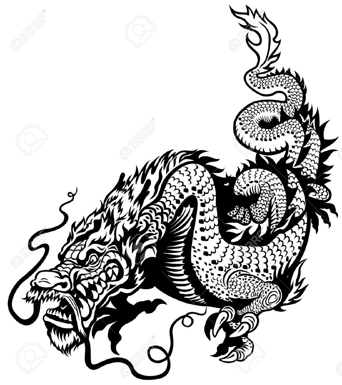 Stock Vector With Images Dragon Illustration Chinese Dragon Black And White Illustration