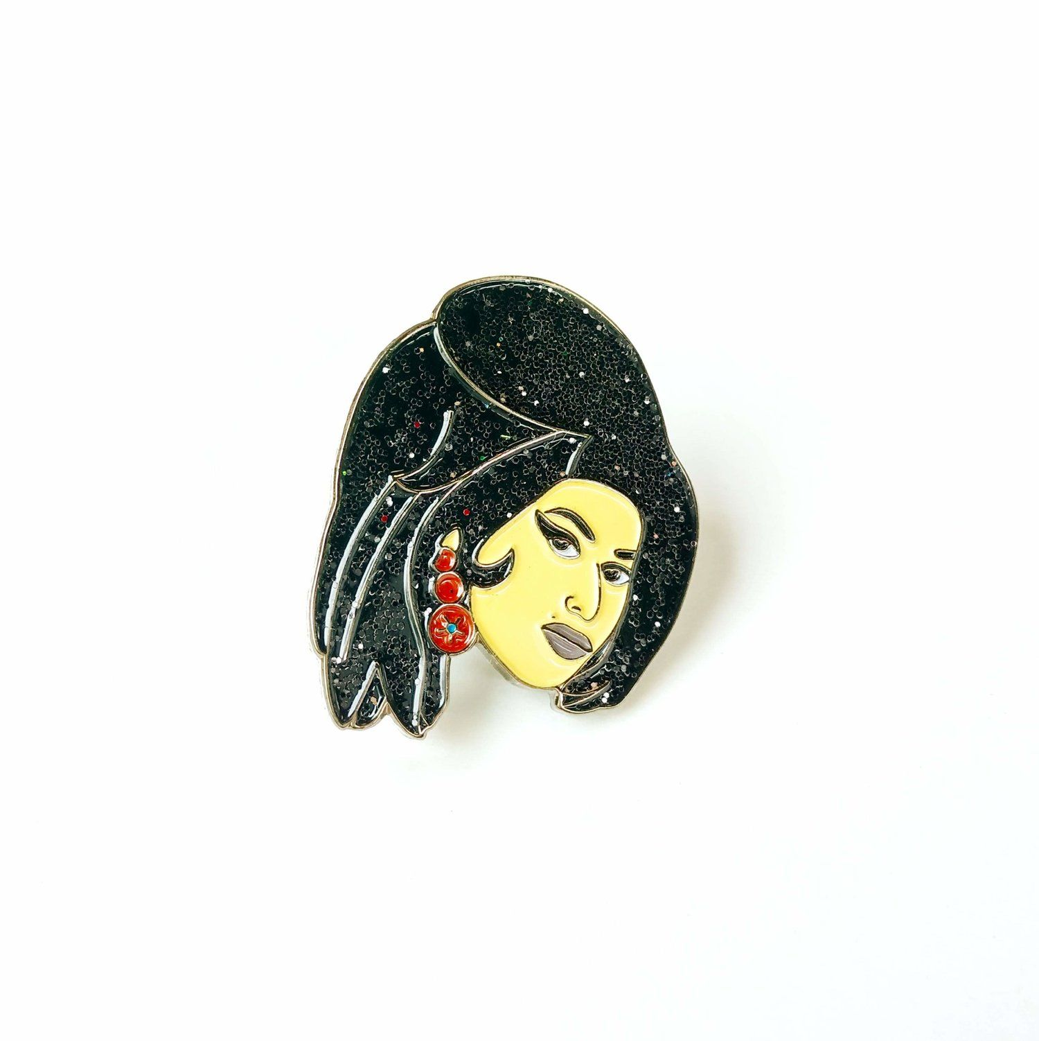 Embroidered Amy Winehouse brooch pin