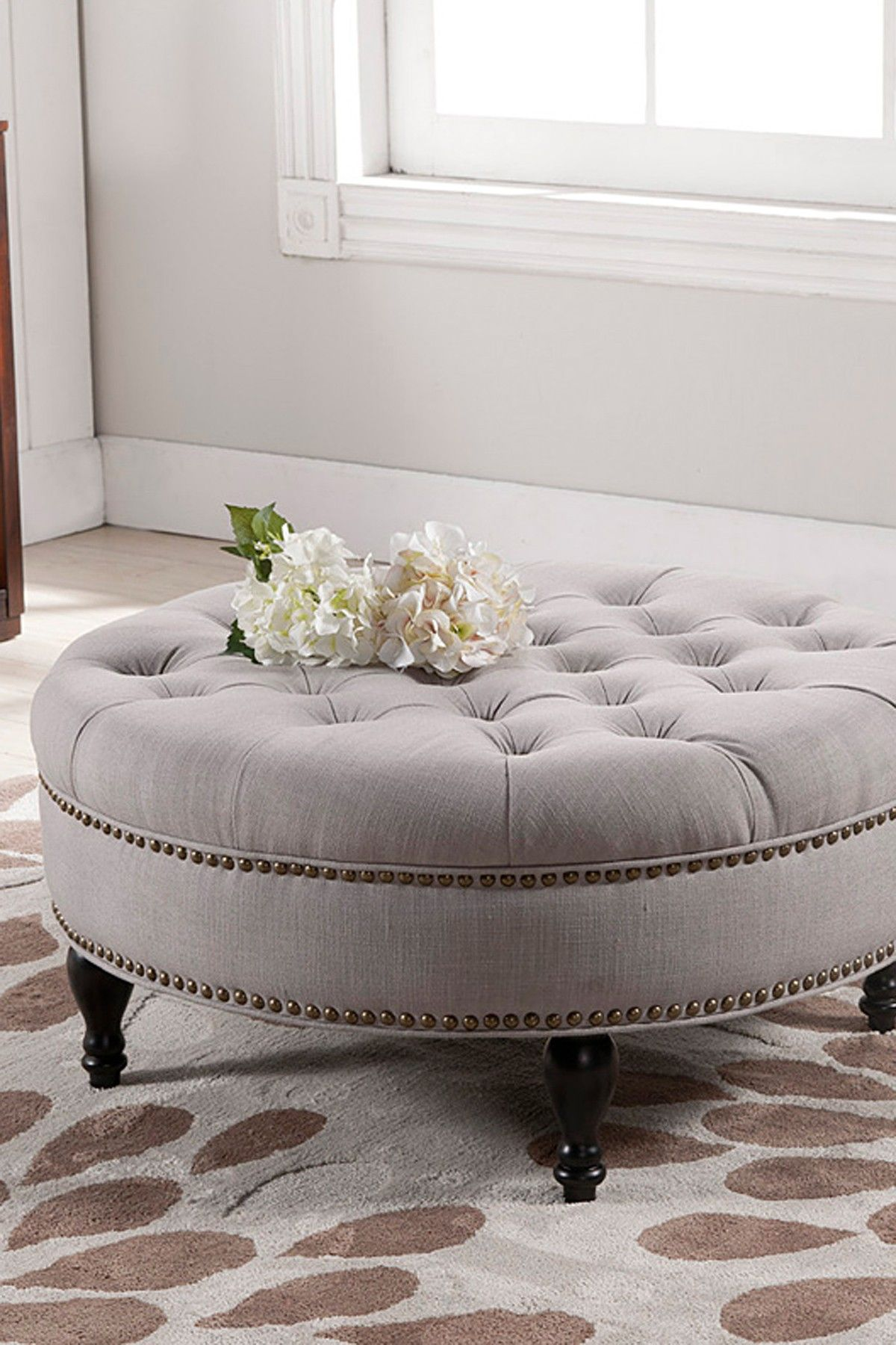 Enjoyable Palfrey Beige Linen Modern Tufted Ottoman By Wholesale Cjindustries Chair Design For Home Cjindustriesco