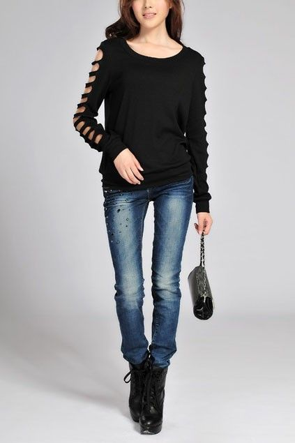 Round Neck Long Sleeve Loose T Shirt With Cut Out Detail