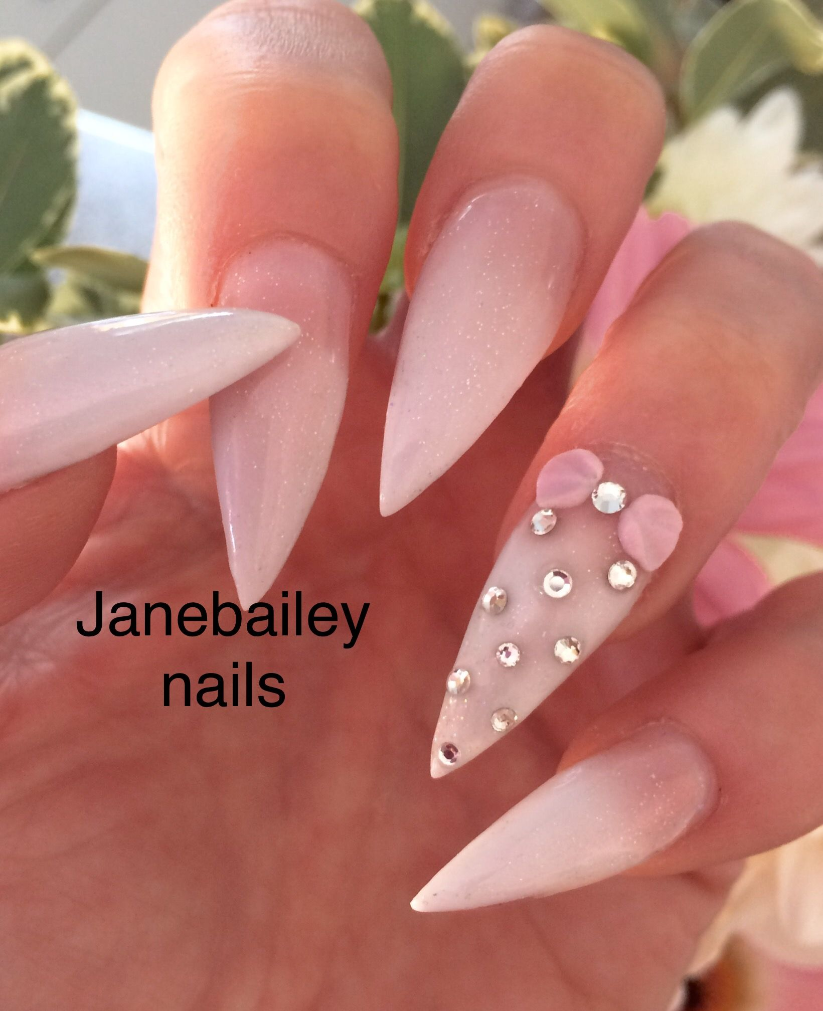 Ombré French Stiletto Nails with 3d bow | Nailsssss | Pinterest